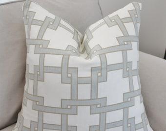 Thom Filicia Pillow Cover // Thom Filicia Citysquare Mistymorn Geometric Linen Kravet Pillow Cover 18x18, 20x20, 22 24 26 Euro sham