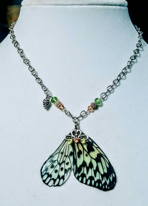 Sage Spotted Butterfly Wings - Necklace