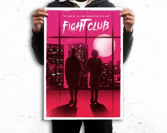 Fight club scene poster inspired wallart print. Available in different sizes. Check the drop-down menu for your choice