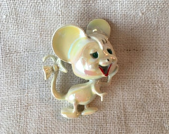 Vintage Whimsical Mouse Pin, White Metal Mouse, Iridescent Mouse, MK249