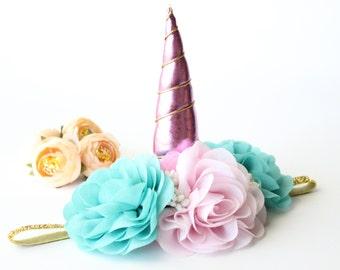 Unicorn Flower Crown Headband - Pink Aqua - Unicorn Headband - Princess - Birthday - Festival - Turquoise - Photography Prop - 1st Birthday