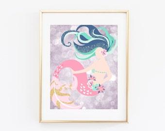 Mermaid Printable Art Print 8x10 Lavender Bokeh Glitter, Pink and Teal, Bokeh, Mermaid Illustration, Nursery Wall Art, Kids Room Decor