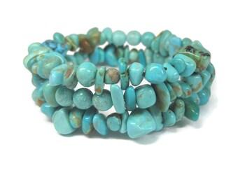 Vintage Natural Turquoise Coil Wrap Bracelet