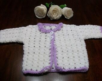 Newborn Cardigan, 0 to 3 Months Purple Baby Sweater, White Crochet Baby Cardigan,  Newborn White and Purple Sweater