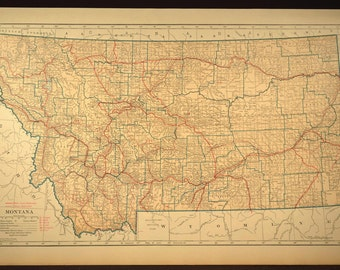 Montana map montana large antique for Home decor on highway 6