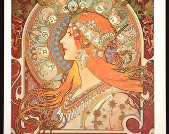 French Wall Art Mucha Poster Print Art Nouveau Style