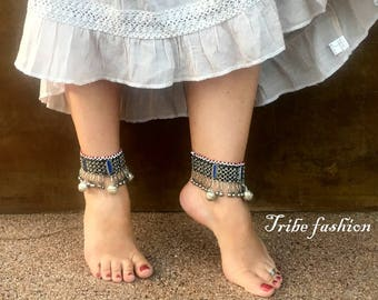 Belly dance, tribal fusion, kuchi blue bells anklet, tribal jewelry