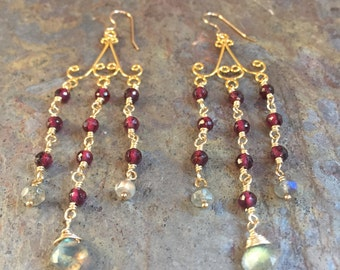 Garnet and labradorite gemstone gold chandelier statement earrings
