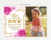 ONE 1st birthday invitation with photo for girl, blush pink stripes gold glitter pink flowers first birthday party invite, digital file