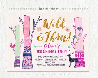 wild and three birthday invitation for girl, arrows tribal forest young wild and three 3rd birthday party invitation, pink purple mint gold