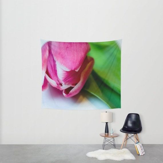 Tapestry Wall Hanging, Wall Tapestries, Large Wall Hanging, Pink and Green, Photo Tapestry Art, Flower Photography Wall Art, Nature Tapestry