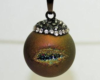 Druzy, Crystal, Gemstone, Drussy Druzzy Drusy Round Pendant, Necklace Charm Crafts, - 20mm - 1ct - #676