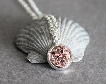 Rose Gold Druzy Necklace, Rose Gold Necklace, Rose Gold Pendant Necklace, Rose Gold Bridesmaid Necklace, Rose Gold Jewelry, Dainty Necklace