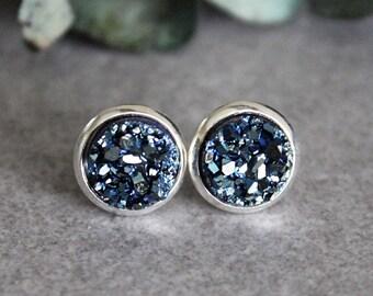 Dark Blue Earrings, Dark Blue Druzy Earrings, Navy Blue Earrings, Navy Blue Druzy Earrings, Dark Blue Stud Earrings, Small Blue Earrings