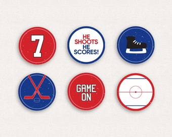 Hockey Birthday Cupcake Toppers - Hockey Birthday Party - Printable Cupcake Toppers - Sticker Favour Tags - Printable Party Tags