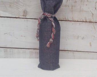 Jean Wine Bag - Wine Bag - Denim Wine Cozy - Jean Cotton Wine Holder - Wine Bottle Holder - Jean Gift Bag - Western Wedding Decor - Set of 4