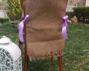 Burlap Chair Sash - Chair Swag - Burlap Chair Cover - Burlap Chair Tie - Wedding Chair Sash - Rustic Wedding Chair Sash - Set of 8