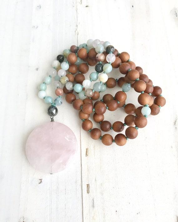 Tranquility And Peace Mala, Natural Healing Mala Beads, Rose Quartz And Sandalwood Mala, Amazonite And Hematite Mala, Yoga Mantra Mala