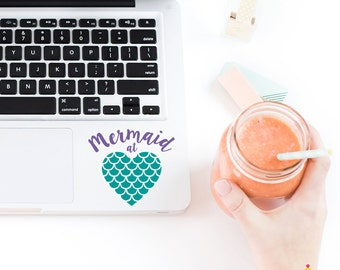 Mermaid At Heart Decal, Mermaid Decal, Cup Decal, Tumbler Decal, Yeti Decal, RTIC Cup Decal, Beach Decal <Multiple Sizes Available>