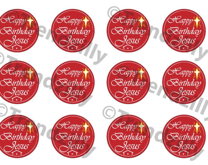 Happy Birthday Jesus Cupcake Topper, Happy Birthday Jesus Gift Tags, Stickers, Christmas Decoration Printable Download, Christmas Graphic.