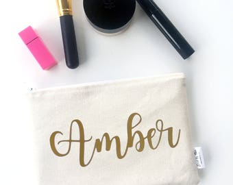 Personalized Bridesmaid Gifts - Bridesmaid Makeup Bag - Wedding Makeup Pouch - Bridesmaid Clutch - Makeup Bag Wedding - Gifts for Bridesmaid