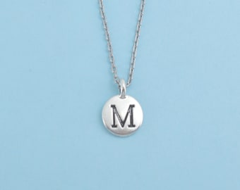 Antique Silver Pewter Initial Charm Necklace.  Initial Necklace. Initial Charm. Initial Jewelry. Letter M. necklace.
