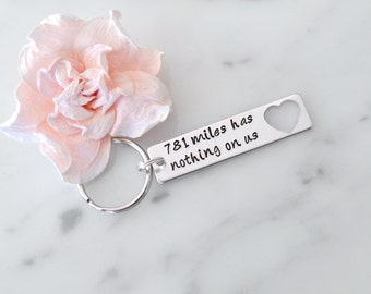 "Long Distance Relationship ""Miles Has Nothing On Us"" Keychain 