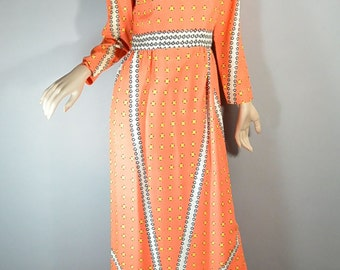 60s Maxi Dress// Psychedelic 60s Dress// Long Tangerine Dress