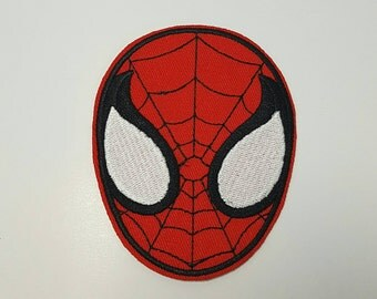 Spiderman face retro iron on patch applique