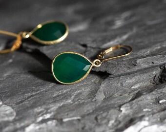 Green Onyx Earrings, Gold Bezel Green Gemstone Earrings