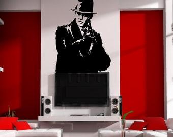 Removable Gangster Mobster Silhouette Gun Wall Window Art Decor Decal Vinyl Sticker Mural