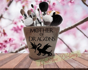 Mother of Dragons with Fairy, Mother of Dragons Candle Holder, Glitter Makeup Jar, Makeup Brush Holder, GOT, Dragon Jar, Game of Thrones