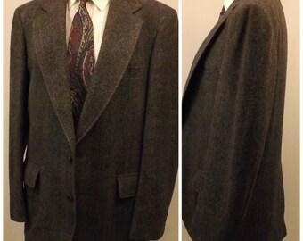 80s Adams Row Men's Gray Herringbone Tweed Sport Coat Size 40R