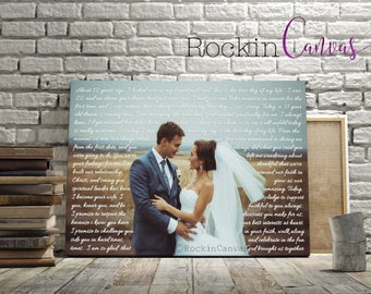 Wedding Vows on canvas, Framed Vows, Personalized Canvas with Vows, First Anniversary Gift Wife, Anniversary Gift for Husband RockinCanvas