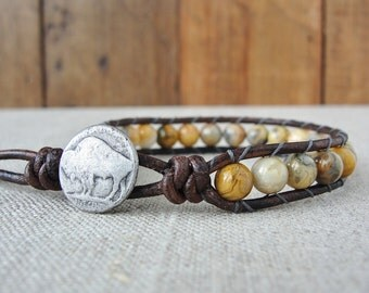 Natural Leather Wrap Bracelet - Beaded Wrap Bracelet - Beaded Bracelet - Leather Bracelet - Crazy Lace Agate - Boho Jewelry - Buffalo Nickel