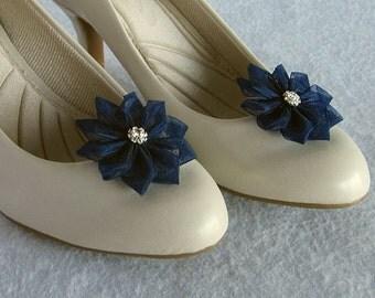 Navy Blue Organza Flower Shoe Clips, Pearl, Rhinestone, Gold, Silver, Bride, Flower Girl, Bridesmaids, Wedding Accessory, Shoe Jewelry