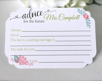 Advice for the bride cards, bridal shower advice cards, bridal shower game, bridal shower decor, future mrs. cards  - set of 20(ac16)