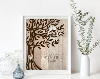 Personalized Wedding Gift, Names Wedding Date, Love Birds in Tree, Newly Weds Gift Family Tree Art, Names Wedding Date