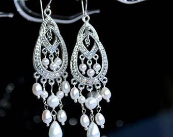 Pearl chandelier earrings, statement bridal earrings, luxury wedding jewelry
