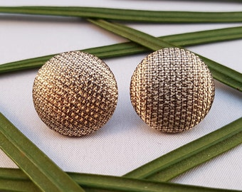 Gold Fabric Covered Button Stud Earrings - Hypo-Allergenic Surgical Steel