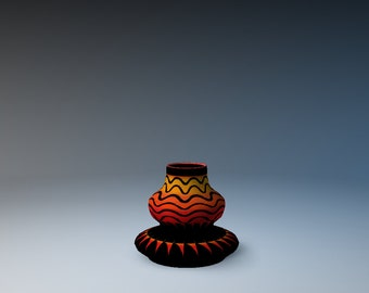 Small Red Vessel w/ Wavy Black Lines