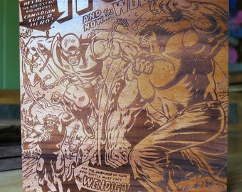 Hulk 181 Wood etching, first appearance of Wolverine. Fan Cover art on cherry wood (Wrong cover price)