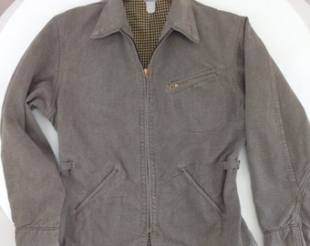1940'S Cotton Twill Jacket / Cotton Flannel Lining / Men's Small to Medium