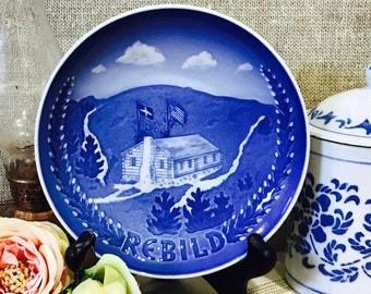 1970s Bing & Grondahl Blue Danish Porcelain Plate Rebild National Park 6 Inches