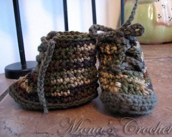 Hand Crocheted Camouflage Baby Boy Workboot Booties | Baby Camo Booties | Baby Camo Workboots | Baby Shower Gift - Size Newborn to 3 Months