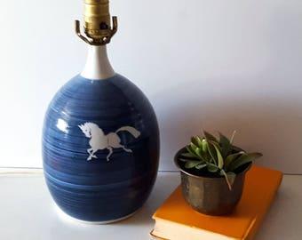 Vintage Blue & White Stoneware Lamp, Horse Design, Pottery, Ceramic Table Lamp