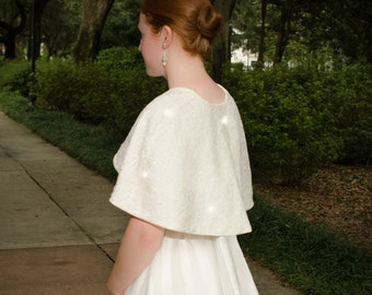 Ivory Lace Bridal Cape, Lace Wedding Cover-Up, Ivory Lace Wedding Wrap, Sparkly Ivory Lace Wrap, Lace Capelet- LYNNE