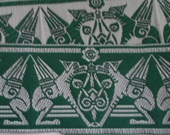 Jacquard Ribbon Trim | 1-3/8 Inch Gargoyle Pattern Woven Jacquard Ribbon | Renaissance Fair Costume Trim~green