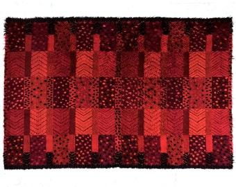 9x6 Vintage Red Swedish Rya Area Rug Carpet Marianne Richter Mid Century Modern