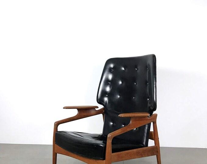 Featured listing image: Vintage Finn Juhl Style Teak & Black Leather Recliner Lounge Chair 1950's